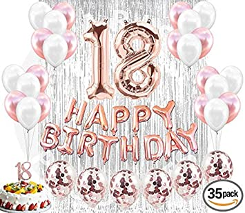 18th Birthday Decorations Party Supplies 18 Cake Topper Banner Confetti Balloons For Her Silver Curtain
