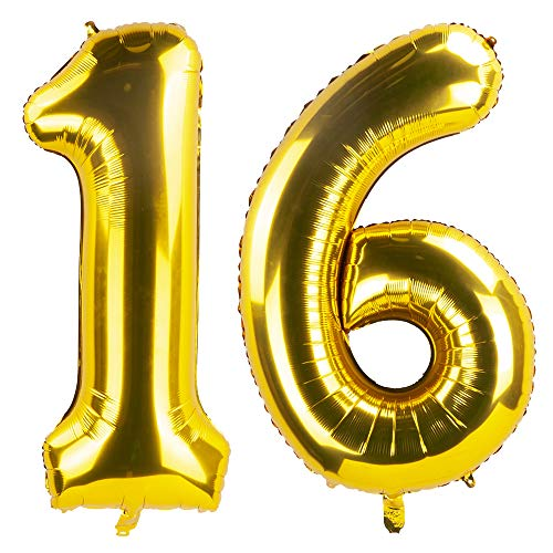 Tim&Lin 40 inch Gold 16 Number Jumbo Foil Mylar Helium Balloons - Party Decoration Supplies Balloons - Great for Wedding, Birthday, Graduation, or Any Anniversary Parties Events]()
