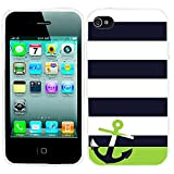 iPhone 4s Case Cute,iPhone 4 Case cool, ChiChiC full Protective unique Stylish Case slim flexible durable Soft TPU Cases Cover for iPhone 4 4g 4s,geometric Navy blue white stripe green Anchor