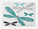 Ambesonne Dragonfly Bath Mat, Ornamental Dragonfly Figures with Lace and Damask Effects Artsy Image, Plush Bathroom Decor Mat with Non Slip Backing, 29.5 W X 17.5 W Inches, Teal Turquoise Black