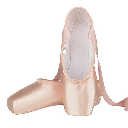 mejor coleccion mejores ofertas en bienes de conveniencia Zapatos de Punta Satén Zapatillas de Ballet con Puntera de Gel de Silicona  y Cintas para Mujeres y Niñas