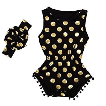 Messy Code Baby Romper Onesies Girls Clothes Gold Dot Jumpsuits Headband Outfit Sleeveless Boutique Black X-Small / 3-6Month