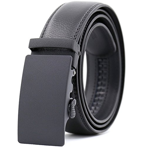 (KHC Men's Belt 100% Leather Belt Ratchet Automatic Adjustable Buckle Black M)