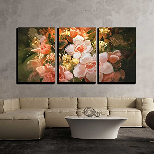 "Wall26 - 3 Piece Canvas Wall Art - Illustration - Beautiful Flowers,Color Blooming,Illustration,Digital Painting - Modern Home Decor Stretched and Framed Ready to Hang - 24""x36\""x3 Panels"