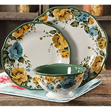 The Pioneer Woman Rose Shadow 12-Piece Dinnerware Set (4 Dinner Plates, 4 Salad Plates, 4 Bowls)