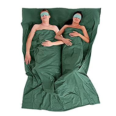 2 Person Outdoor Sleeping Bag Warm Weather Cotton Double Sleeping bag(army green)