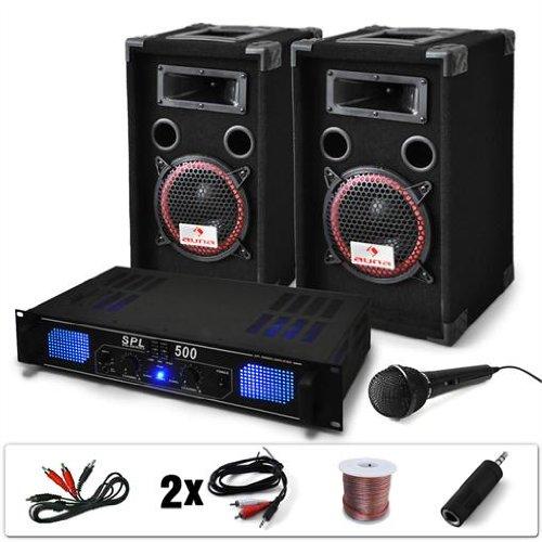 """19 opinioni per DJ set """"DJ-14"""" impianto audio completo PA (2 casse AUNA diffusori 1000 Watt"""