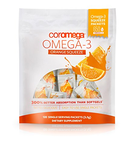 (Coromega Omega 3 Fish Oil Supplement, 650mg of Omega-3s with 3X Better Absorption Than Softgels, Orange Flavor, 120 Single Serve Squeeze Packets)