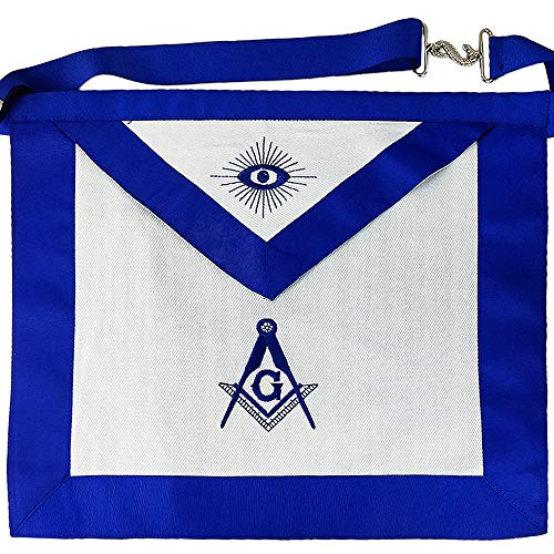 Imason Master Mason Masonic Apron Square Compass with G White Cloth