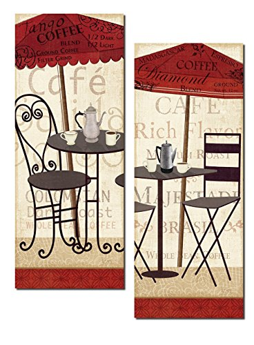 Gango Home Décor Lovely Cafe Bistro Table and Coffee Panels; Kitchen Decor by Veronique Charron; Two 8x18in Poster Prints