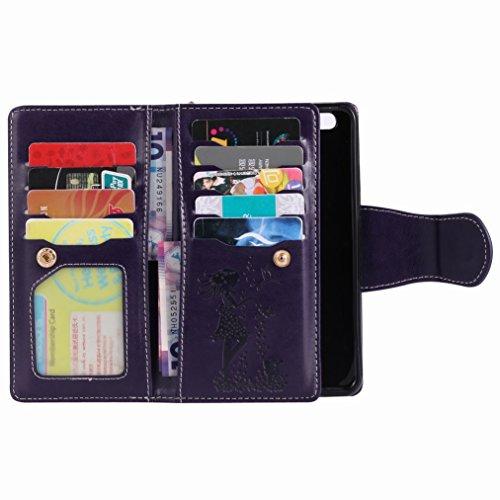 Yiizy Huawei P10 Custodia Cover, Ragazza Goffratura Design Sottile Flip Portafoglio PU Pelle Cuoio Copertura Shell Case Slot Schede Cavalletto Stile Libro Bumper Protettivo Borsa (Porpora)