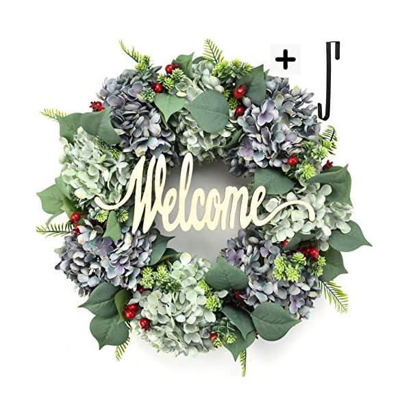 Welcome Wreaths for Front Door Handmade Hydrangea Wreath,Letter Wreaths for Front Door,Fall Wreath,Farmhouse Door Wreaths,Grapevine Wreath,Spring Summer Wreaths for Front Door Winter (19inches1)