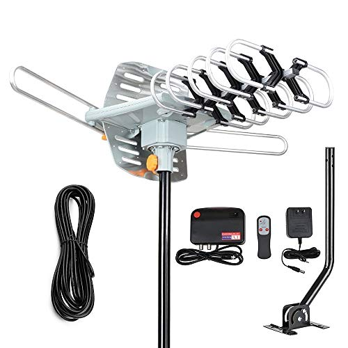- 2019 Version Outdoor Amplified Digital HDTV Antenna - 150 Mile Motorized 360 Degree Rotation- TA Amplified HD TV Antenna for 2 TVs Support UHF/VHF 4K 1080P Channels Wireless