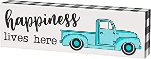 'Happiness Lives Here' Plaid Pickup Truck Wood Box Sign