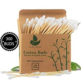 Bamboo Cotton Buds | GOTS Certified Organic | Compostable & Biodegradable | Eco Friendly swabs | Plastic Free | Sustainable Materials | Vegan | Recycled Packaging | (300/900 buds)