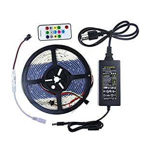 ALITOVE 16.4ft 150 Pixels WS2811 5050 Digital Magic Dream Color Addressable RGB LED Strip Rope Light Waterproof Black PCB 12V DC+ Mini RF Remote Controller + 12V 3A Power Supply kit