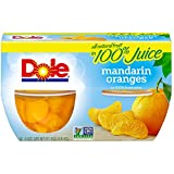 Dole Fruit Bowls, Mandarin Oranges in 100% Fruit Juice, 4 Ounce (4 Cups), All Natural Mandarin Orange Segments Packed in Fruit Juice, Naturally Gluten-Free, Non-GMO, No Artificial Sweeteners