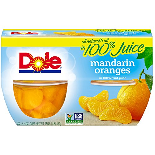 Dole Fruit Bowls, Mandarin Oranges in 100% Juice, 4 Ounce, 4 Cups