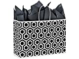 Pack Of 25, Vogue 16 x 6 x 12'' Black Geo Graphics Recycled Paper Shopping Bag w/white paper twist handles Made In USA