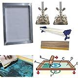 Techtongda Screen Printing Bundle Kit DIY Print Sik Screen Printing Aluminum Frame Hinge Clamp Emulsion Coater Squeegee