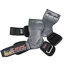 "Lifting Grips PRO Weight Versa Gloves Heavy Duty Straps Alternative to Power Hooks Deadlifts Adjustable Neoprene Padded Wrist Wrap (Black Rubber, Small 5.0""-6.40"" Wrist Size)"