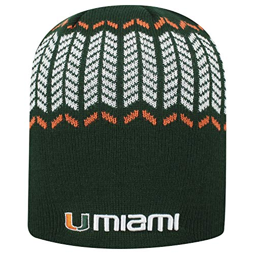 (Top of the World Miami Hurricanes Official NCAA Uncuffed Knit Sports Stripe Beanie Hat 744728)