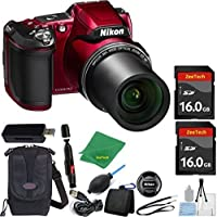 Nikon COOLPIX L840 Digital Camera (WHITE BOX) Optical Zoom and Built-In Wi-Fi (Red) ZeeTech Bundle with 6pc Starter Kit + Case + Lens Cleaning Pen + Blower Brush + 2pcs 16GB Memory Cards + Reader Basic Facts Review Image