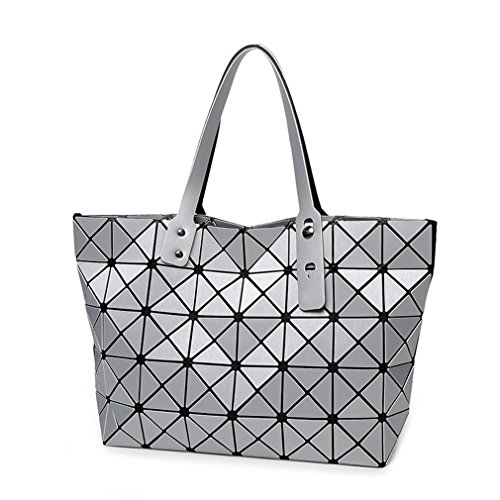 Bag Folding Matt Metal Drawing Shoulder Handbag Bag Fashion Casual Women Tote Handle Bag Geometric Shoulder Bag Silver