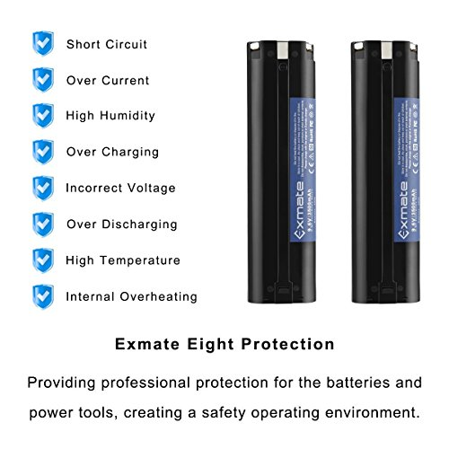 Exmate 2PCS 9.6V 3500mAh Ni-MH Replacement Battery Compatible with Makita 9033 193890-9 192696-2 632007-4 9001 9002 9600 191681-2 192533-0 4093D 4093DW 5090D 5090DW 6095D by Exmate (Image #7)