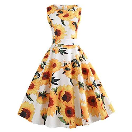 Vintage Dresses for Women, Retro Sunflower Print Sleeveless Tea Evening Party Short Dress (White, XL) (Sunflower Fiesta)