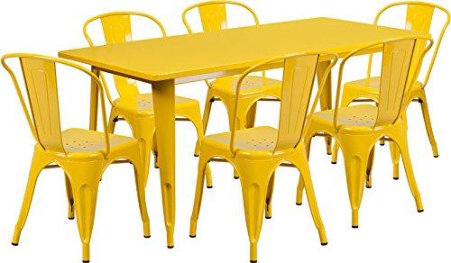 31.5''x63'' Rectangle Yellow Metal Indoor-Outdoor Restaurant Table Set w/6 Chair