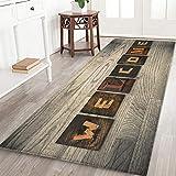 47 X 16 Inches Welcome Memory Foam Door mat Non Slip Super Absorbent Soft Coral Fleece Bathroom mats Rustic Wood Grain Print Bath Rugs Doormats Carpet