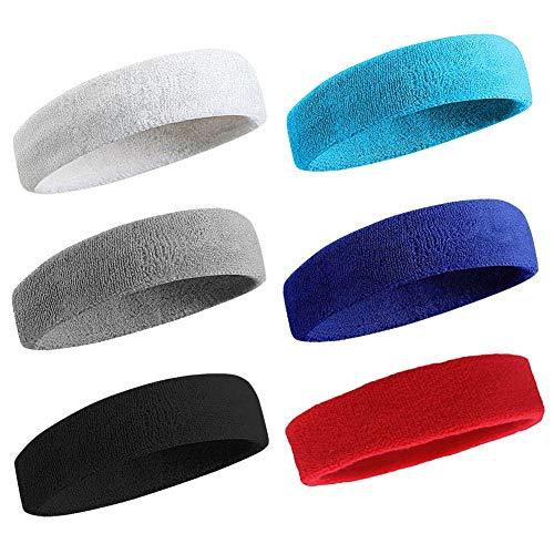 Amyzor 6X Sweatband Headband Athletic Wristband, Sweat Absorbing Sport Head Wrist Band