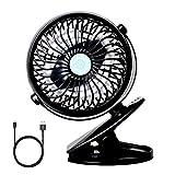 StillCool Silence USB Fan, Mini USB Desktop Fan Rotate to 720 ° Powerful and Silence For Stroller, Car, Camping, etc - Black
