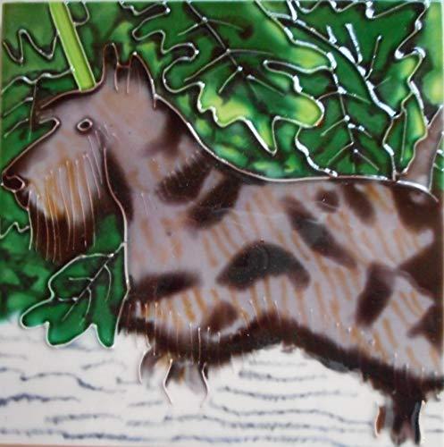 Scottish Terrier Ceramic Art Tile 6 x 6 inches Easel -