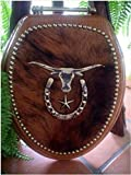Cowboy Hair on Cowhide Western Decor Longhorn Horseshoe Oak Toilet Seat