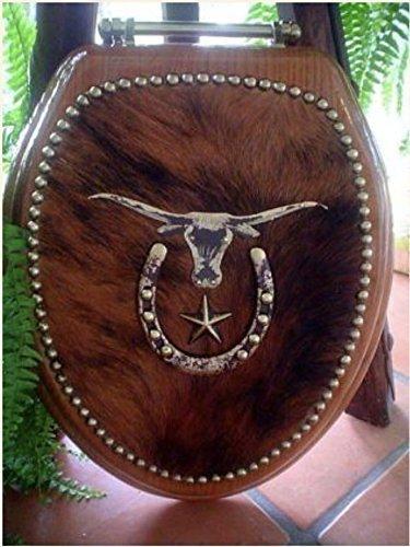 Cowboy Hair on Cowhide Western Decor Longhorn Horseshoe Oak Toilet Seat by Signature Cowboy Studio