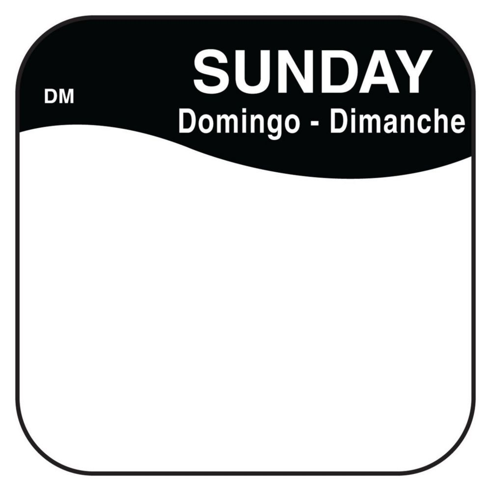 DayMark 1100377 DissolveMark .75'' Sunday Day Square - 1000 / RL