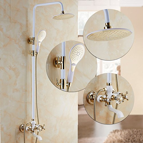 C GFEI Shower set with full copper faucet   white golden bath bathroom shower shower shower faucet   waterfall shower,I