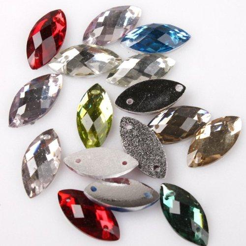 UPC 520754118078, 150pcs Colorful Horse Eye Style Sew-on Flatback Embellishment Buttons 7*15mm