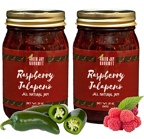 (Green Jay Gourmet Raspberry Jalapeno Jam - All-Natural Raspberry Jam with Red Raspberries, Jalapeno Peppers & Lemon Juice - Vegan, Gluten-free Jam with No Preservatives - Made in USA - 2 x 20 Ounces)
