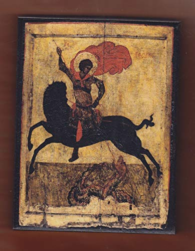 Icon George (St.George οn a black horse, Byzantine icon.FREE SHIPPING.)