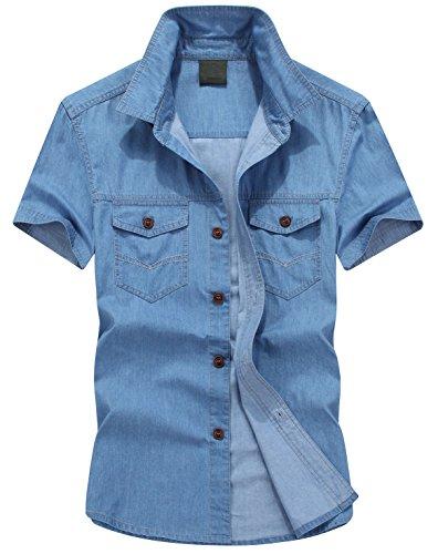 Mens Short Sleeve Denim - Yeokou Men's Basic Button Up Short Sleeve Denim Shirt (Medium, Light- Blue)