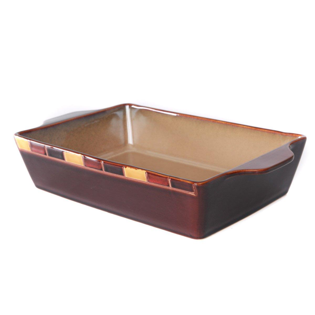 WHITEPEONY Bricks Orange Stoneware Rectangular Baker, 9-Inch x 13-Inch