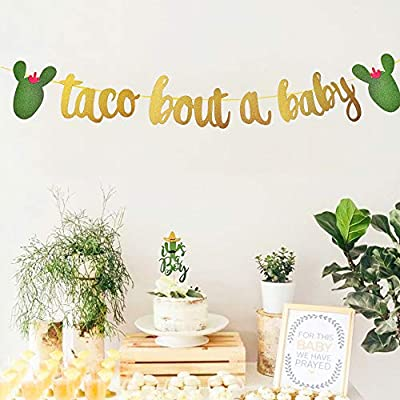 Taco Bout a Baby Banner Decoration, It's a Boy Girl Gender Reveal Cacti Baby Shower Cake Topper Decor, Mexican Fiesta Cactus Garland Sign Gold Glittery, Spring Summer Birthday Party Supply Accessories: Toys & Games