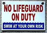 1 Pc Amazing Unique No Lifeguard On Duty Sign Plastic Printed Outdoor Declare Risk Beach Pools Decor At Your Own Diving Danger Signs Decal Swimming Pool Poster Warning Post Size 8''x12'' w/ Grommets