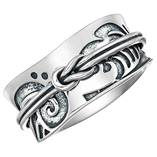 Energy Stone Tsunami Art Japanese Arts Inspired Meditation Spinner Ring in Sterling Silver (Style# US52) (9) (Japanese Ring)