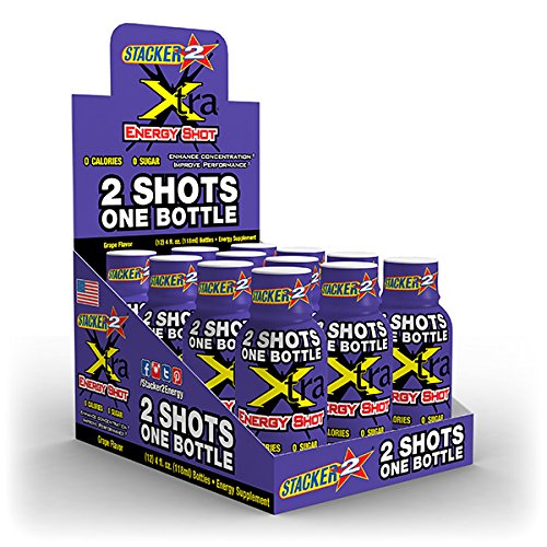 XTRA ENERGY SHOT 4OZ (NOT 2OZ) GRAPE FLAVOR BY STACKER 2 (LOT OF 12 BOTTLES) FREE SHIPPING by STACKER 2