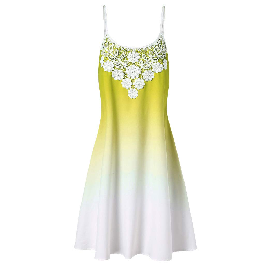 Alangbudu Women's Adjustable Strappy Lace Gradient Summer Beach Casual Slim Swing A-Line Midi Dress Yellow