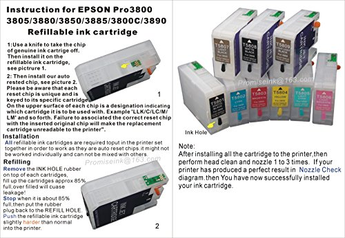 CEYE For EPSON Pro3800 Pro3805 Pro 3800 3805 Empty Refillable Ink Cartridge 80ML 9pcs by CEYE (Image #2)